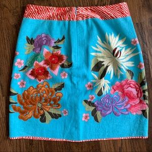 Etcetera Floral Embroidered Multi Lined Skirt